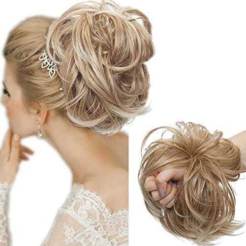 Große Haarteil Haargummi Extensions Messy Bun Dutt Hochsteckfrisuren Voluminös Haarverlängerung mit Gummiband (80G) Kaffee Braun & Blond Bleichen