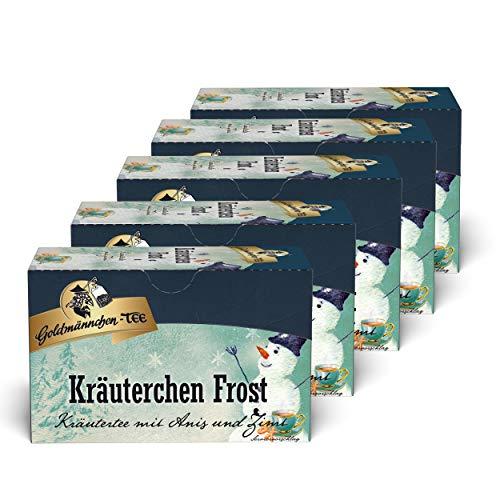 Goldmännchen Kräuterchen Frost Tee 5er Set, Kräutertee mit Anis und Zimt, Wintertee, 5x20 Teebeutel