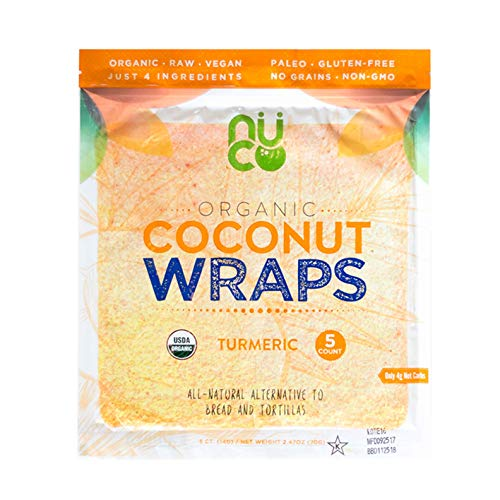 NUCO Certified Organic Paleo Gluten Free Vegan Turmeric Coconut Wraps, 5Count (One Pack Of Five Wraps)