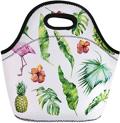 haoqianyanbaihuodian Bolsas de almuerzo acuarela de hojas tropicales densas selva flamenco pájaro neopreno lonchera lonchera bolsa de almuerzo bolsa portátil picnic bolsa nevera