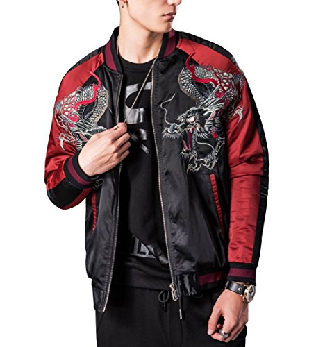 LETSQK Mens MA-1 Air Force Crane Embroidery Lightweight Baseball Bomber Jacket