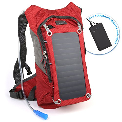 Ivation Solar Survival Backpack, Hydration Bladder Bag, Waterproof Power Bank,...