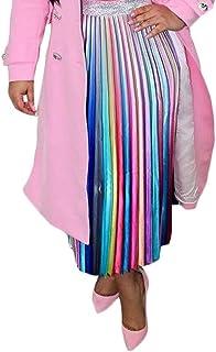 Women's Midi Pleated Skirts - Elegant Multicolor Graffiti Cartoon Printed A Line Elastic Waist Swing Dresses
