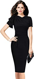 VFSHOW Womens Celebrity Elegant Ruched Cocktail Party Bodycon Sheath Dress