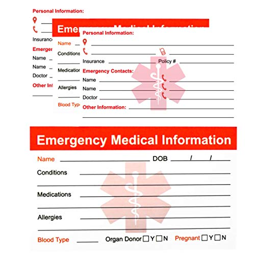 RXBC2011 Emergency Medical Information ID Card Pack of 5