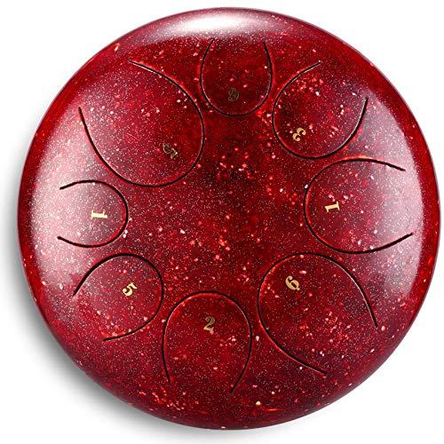 HQQ Professionelle Stahlzunge Drum 8 Hinweise 10 Zoll, mit Aufbewahrungstasche, Geeignet for Yoga Meditation (Ruby-Color)