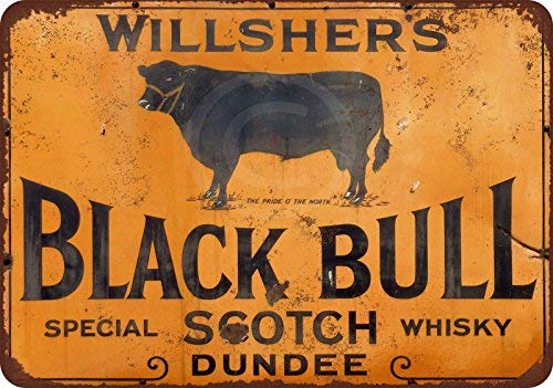 Willshers Black Bull Scotch Whiskey Reproductie Metalen bord voor Home Wall Art Decor Post Plaque voor Vrouwen Mannen 20 x 30cm