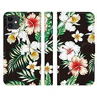 Ruuu iPhone 12 Pro Max 手帳型 スマートフォン iPhoneケース カバー ヴィンテージ ハワイアン ボタニカル柄 type G ハイビスカス 花柄 花 ボタニカル 南国