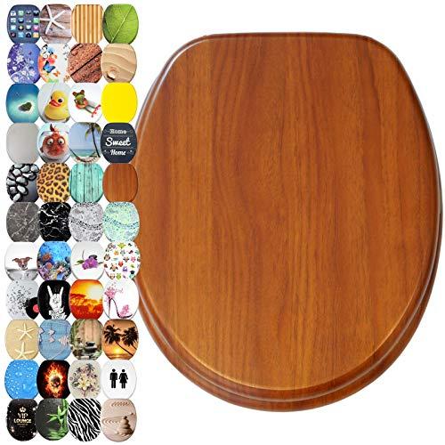 WC Sitz mit Absenkautomatik, viele schöne WC Sitze zur Auswahl, hochwertige und stabile Qualität aus Holz (Mahagoni)