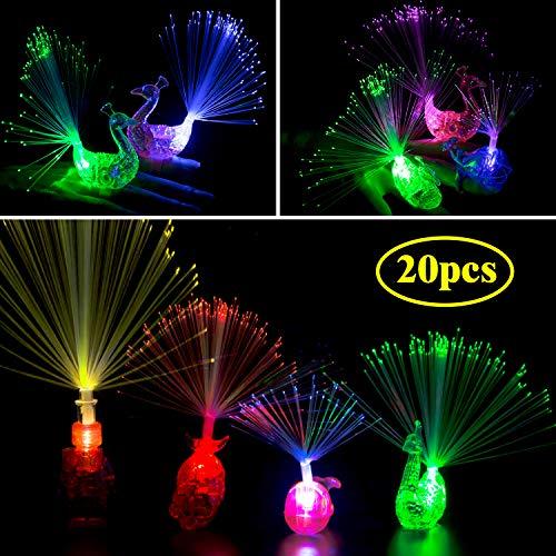 Herefun Finger Licht, 20Pcs Fingerlichter LED Bunt Leuchten Finger Spielzeug Taschenlampe Licht Pfau Licht Mitgebsel Gastgeschenke Kindergeburtstag Party Supplies Halloween Karneval (Mischfarbe)