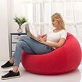 LONEEDY Sofá de silla inflable, asiento de estallado para juegos, interior y exterior, camping, jardín, elegante tela de felpa suave para adultos y niños individual (rojo esférico)
