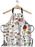 WONDERTIFY Europe Germany Travel Elements Apron,Germany Icons Sausage Beer Wheat Bread Football Castle Bib Apron with Adjustable Neck for Men Women,Suitable for Kitchen Cooking Chef Bistro BBQ Apron