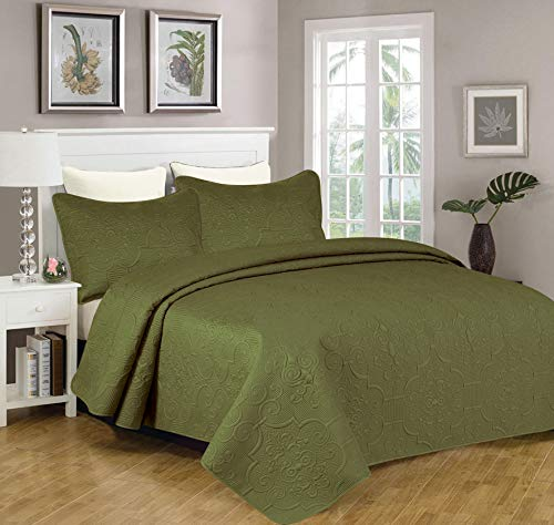 Sapphire Home 3-Piece Full/Queen Oversize Bedspread Coverlet Bedding Set w/2 Shams, Soft Touch, Solid, Stylish Embossed Pattern, All-Season Oversize Comforter Bed Cover, Emma Queen Olive Green