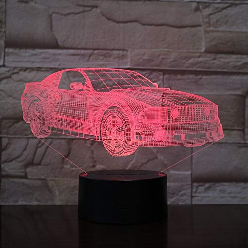 sanzangtang LED Night Light 3D-Vision-Seven Colors-Remote Control-Car Bus Fan Design Small Night Light Color Change Light Acrylic Slide Lamp for Children Gift