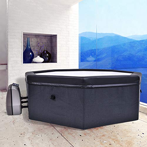 CosySpa Deluxe Foam Hot Tub Spa [4-6 People] | Quick Heating Outdoor Bubble Spa – Energy Saving Inflatable Tub (Tub+ 6 Filters + Comfort Set & Energy Saving Cover)