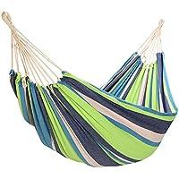 Yorbay Hamaca de algodón 200 x 150 cm, 200kg de Capacidad de Carga, con Bolsa para Viaje Camping Jardín (Verde/Azul) Reutilizable