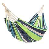 Yorbay Hamaca de algodón 200 x 150 cm, 200kg de Capacidad de Carga, con Bolsa para Viaje Camping Jardín (Verde/Azul)