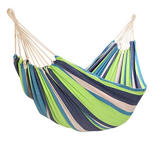 Yorbay Hangmat Outdoor Katoen 200 x 150 cm, 200 kg draagvermogen, met draagtas voor buiten, tuin, camping groen/blauw