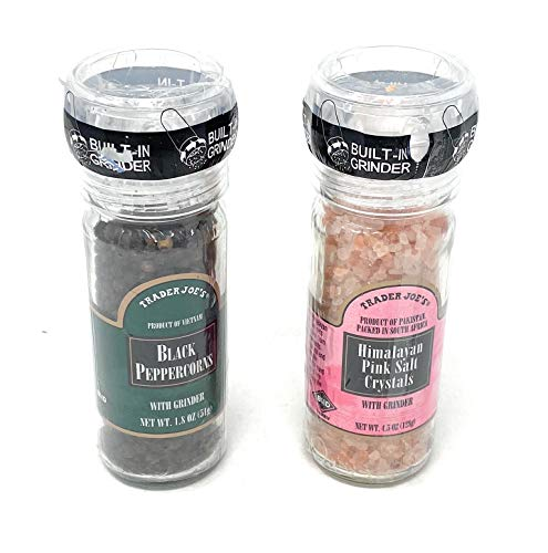 Trader Joe's Pink Salt and Black Pepper Grinder Set - Black Peppercorns and Pink Himalayan Salt Crystals