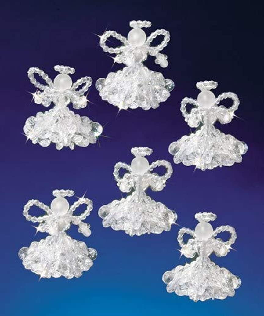Beadery Holiday Beaded Ornament Kit, 2-Inch, Crystal Angels, Makes 6 Ornaments