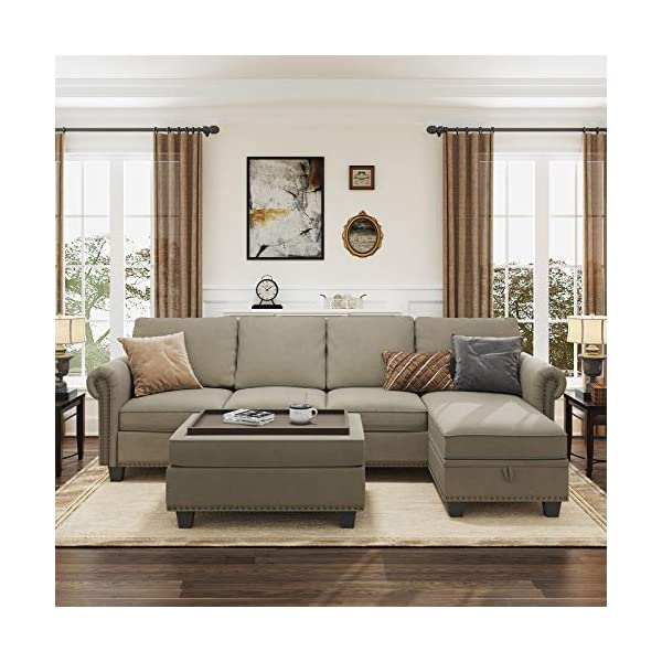 Nolany Convertible Sectional Sofa Couch with Reversible Chaise, L Shaped Sofa Couch...