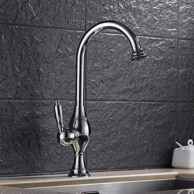 FZHLR Kitchen Sink Wasserhahn Messing Küchenarmatur Goldenes Nickel Chrom-Fertiger Küche-Wannen-Mischer Kran Waschtisch-Armatur Heier Und Kalter Hahn, Chrom