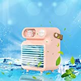 Aire acondicionado portatil silencioso,Nuevo mini ventilador portátil de aire acondicionado de refrigeración de escritorio para el hogar, pequeño ventilador de aire acondicionado (Rosa)