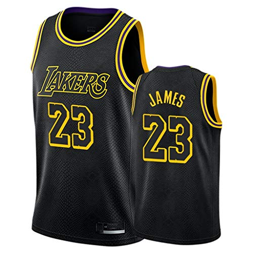 Herren-Basketballtrikot-Lebron James-Los Angeles Lakers # 23-Trikot, Stickerei mit schwarzem Schlangenmuster, Basketball-Swingman-Trikot, 100% Polyester-XXXXXL