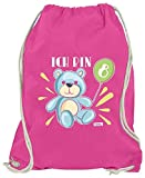 Hariz - Bolsa de deporte, diseño de oso y globos, 8 cumpleaños, rosa (Rosa) - AchterGeburtstag03-WM110-18-1