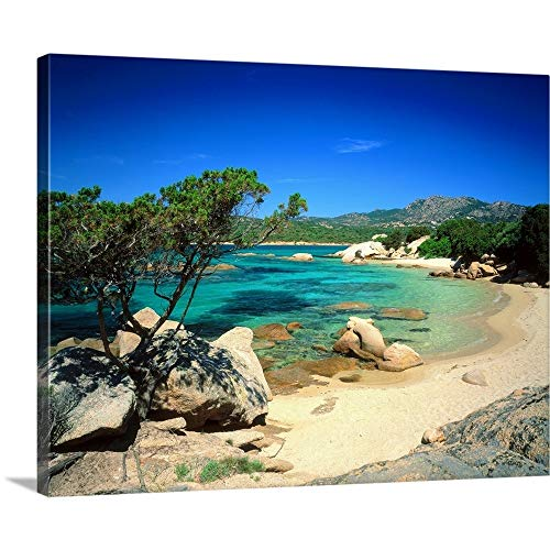 "Italy, Sardinia, Costa Smeralda, Cala di Volpe Canvas Wall Art Print, 45""x36""x1.25"""