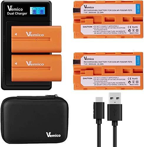 Vemico NP-F550 Cargador de Batería 2x1200mAh Batería de Repuesto Juego de Cables USB Tipo C de Cargador LCD de 2 Canales para NP F970/F960/F750/F570/F530/F330/TR516/TR716/TR818/TR910/TR917/TR940