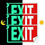 EXIT Signs Glow In The Dark EXIT Decals 3 Pack 12'x7' EXIT Photoluminescent Signs Stickers, Glows For Up To 8 Hours