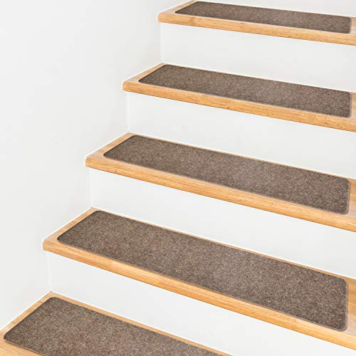 """Pretigo 7.5""""x30"""" Stair Treads Non-Slip Indoor Stair Runners for Wooden Steps, 14-Pack Anti-Slip Strips for Kids and Dogs (Brown)"""