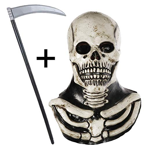 Maschera Teschio Maschera Scheletro in Lattice, Maschera Halloween Adulto. Kit per Festa in Costume di Halloween con Falce Raccapricciante