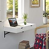 Homfa Wandtisch mit 2 Schubladen EsstischKüchentischSchreibtischComputertischWeiß Holz Klein 80x40cm