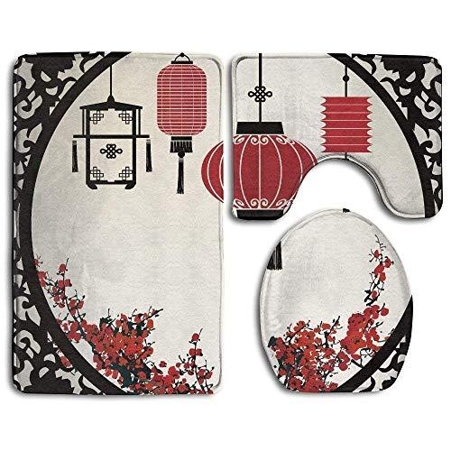 3 pièces asiatiques japonais cerisiers en fleurs rondes figure ornée graphique tapis de bain ensemble tapis de salle de bain lavable + tapis de contour + housse de siège de toilette, Tapis de sol pour