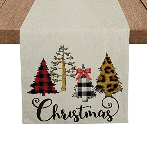 Artoid Mode Buffalo Plaid Leopard Christmas Trees Table Runner, Seasonal Winter Xmas Holiday Tablecloth Kitchen Dining Table Linen for Indoor Outdoor Home Party Decor 13 x 72 Inch