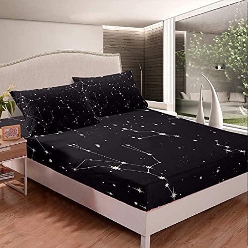 Juego de sábanas Galaxy para cama con espacio exterior, sábana bajera ajustable para niños, niñas, adolescentes, funda de cama de constelación ligera, tamaño King, 3 unidades