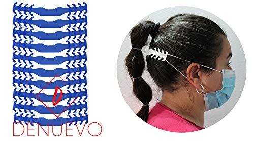 Protector Ligero para las Orejas, Extensor de las Gomas de las Mascarillas, Azul, Gancho, Salva,Sujeta (Pack 10 unidades)