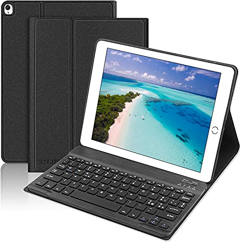 SENGBIRCH Custodia Tastiera per iPad 10.2, Custodia con Tastiera Italiano per iPad 10.2 2020(8th Gen)/2019(7th Gen)/iPad Air 3/iPad PRO 10.5,Magnetica Wireless Keyboard Staccabile, Nero