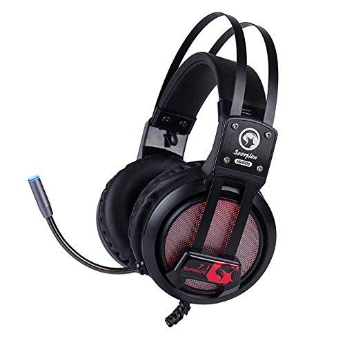 Scorpion - Cascos Gaming, Modelo MA-HG9028, Sonido Virtual 7.1, Control de Volumen, Con Luces LED en 7 Colores, Puerto USB Plug&Play, Cable de Alta Resistencia, Color Negro