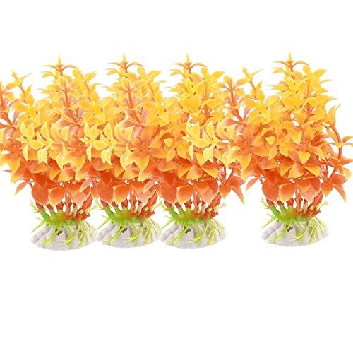 Sourcingmap kunststof aquarium decoreren waterplant, 4 stuks, geel/oranje/rood