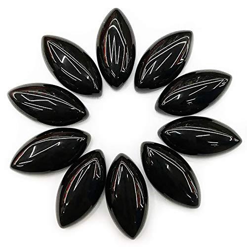 [テソロ] ルースストーン オニキス (ブラックアゲート) [マーキスカボション] 約3x6mm 1個 裸石 [並行輸入品]