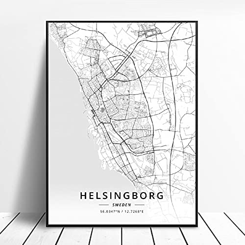 Lldkoplng Uppsala Linkoping Malmö Trollhättan Helslngborg Sweden Canvas Art Map Poster ?ZQ-1396? Ingen ram poster 40x50cm