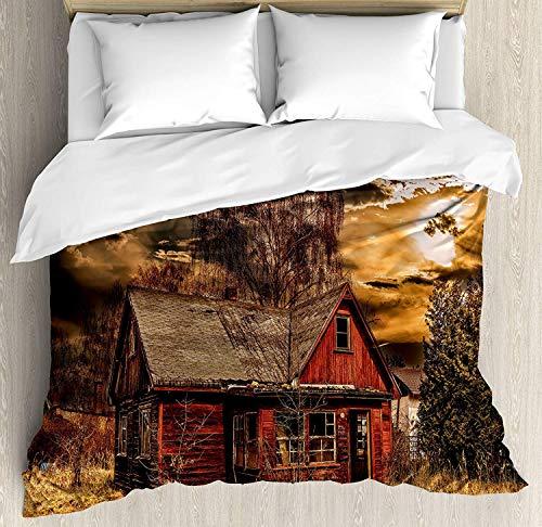 XINGAKA Set de Funda nórdica para decoración de paisajes, Scary Horror Movie Themed Abandoned House in Pale Grass Garden Sunset Photo, Juego de Cama de 3 Piezas con 2 Fundas de Almohada
