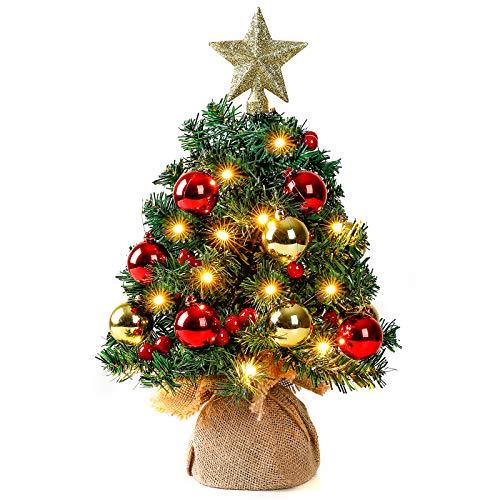 Yorbay Mini Weihnachtsbaum mit 20 warmweiß LEDs 8 Licht Modi, Tannenbaum mit Stern-Baumspitze und Deko Batterie betrieben, für Weihnachten, Advent, ca. 40cm(Mehrweg)
