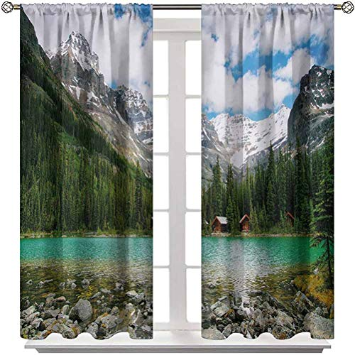"Blackout Curtain Landscape Soundproof Window Curtain Panels Canada Ohara Lake Yoho National Park with Mountains Nature Scenery Art Photo Home/Office Artistic Décor 2 Rod Pocket Panels 52"" W x 63"" L"