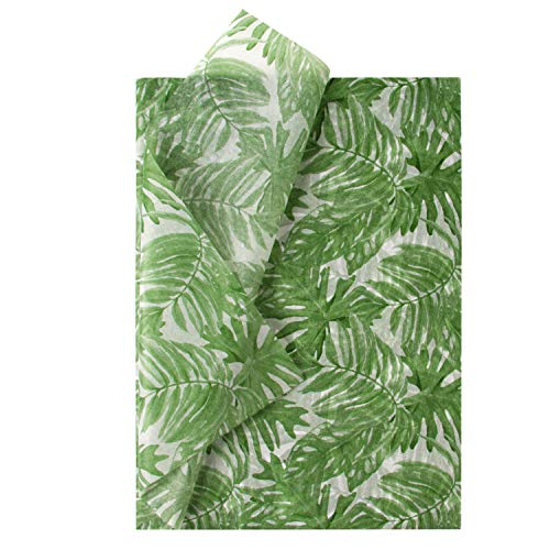 RUSPEPA Geschenkpapier Seidenpapier - Palmenblätter Design Seidenpapier für Heimarbeit Bastelarbeit Geschenkverpackung – 50 x 70 cm – 25 Blatt