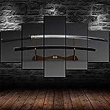 WJWORLD Espada Japonesa Katana Blade enmarcada Lienzo Arte de la Pared decoración para el hogar 5 Piezas Regalo-150 * 80cm-Marco