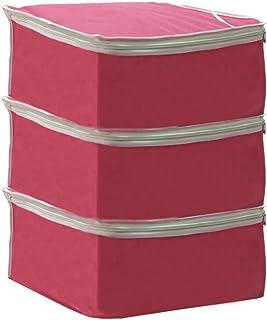 PrettyKrafts Saree Cover Set of 3 Large/Wardrobe Organiser/Clothes Bag_Pink